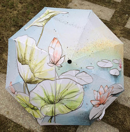 Lotus Painting Art NZ - 2017 New Novelty Items Oil Painting Arts Umbrella Rain women Creative Famous Brand Mujer Paraguas Anti-UV Fashion Parasol Painting lotus