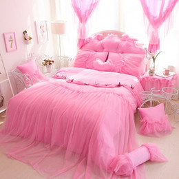 pink ruffle duvet cover king size UK - Elegant Lace princess bedding set home textile 4pcs cotton bedspread bed skirts wedding bedclothes duvet cover queen king size