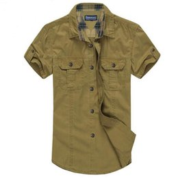 Man shirts double pockets online shopping - New arrival summer Men shirt Fashion double pocket cotton short sleeve shirt Single Breasted plus size
