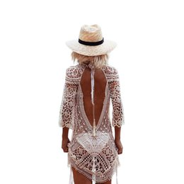 $enCountryForm.capitalKeyWord UK - Sexy crochet beach dress women casual knitted lace summer dress shirt hollow out 2017 boho hot beachwear white dresses vestidos