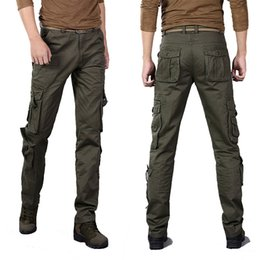 Cotton Combat Trousers NZ - 2017 Men Fashion Casual Cargo Pants Military Tactical Combat Trousers Men Army Clothing Solid Multi Pockets Cotton Overalls