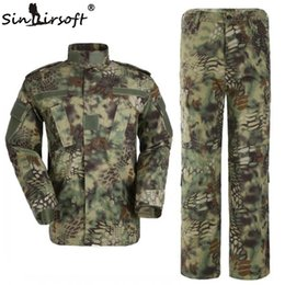 Pantalons Cargo De Camouflage De L'armée Pas Cher-Haute qualité! Mandrake Armée de chasse camo vêtements Tactical Cargo SHIRT + PANTS Camouflage Combat Uniform Us Armée Airsoft Camo BDU costume de grenouille