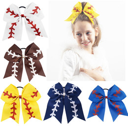 "Discount hair bow holders wholesale 7"" Large Softball Team Baseball Cheer Bows Handmade Yellow Ribbon and Red Glitter Stiches with Ponytail Hair Holders for Cheerleading Girls"