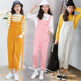 Jeans À Taille Haute Pas Cher-Vente en gros - 2017 Summer New Rompers Denim solide Harajuku Kawaii Mignon Vintage Casual Loose Women High Waist Jeans Pockets Overalls Pants