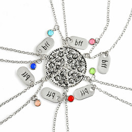 Wholesale 6pcs set BFF Pizza Necklace Colorful Rhinestone Chain Best Friends Forever Friendship Memorial Food Jewelry