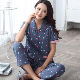 c4a31090e5 New Short Sleeve Pajama Set Women Sleepwear Summer 100% Cotton Pajamas Women  Plus Size Women M - XXXXL pijamas mujer 2XL 3XL 4XL