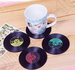 Pvc Bar Table Canada - CD Record Coffee Cup Mat Thermal Insulation PVC Drink Placemat Drink Coaster Anti-Heat Creative Table Decor 4 Colors OOA1162