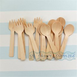 Discount cupcake kids - Wholesale- 100pcs SMALL Wooden Ice Cream  10cm Cupcake Spoons Kids Party Wooden Silverware Wedding Cutlery Shortcake Ute
