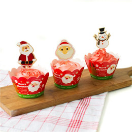 $enCountryForm.capitalKeyWord Australia - Christmas Party Cupcake Wrappers and Picks Muffin Cake Toppers Party Supplies Cake Decorations Santa Claus