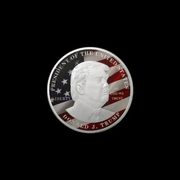 Wholesale make badges resale online - 10pcs Make America Great Again Souvenir Coin The President of The United State Silver Plated Trump Souvenir Coin Badge Metal Crafts