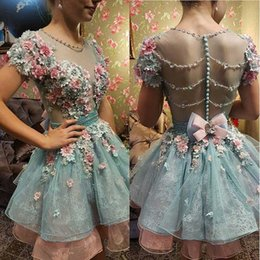 petal bead caps 2018 - Hot 3D Floral Appliqued Homecoming Dresses Sweet 16 Short Sleeve Beads Prom Gowns Plus Size Vintage Formal Evening Dress