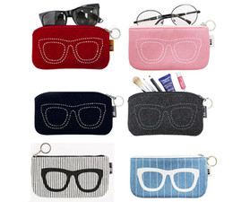 $enCountryForm.capitalKeyWord NZ - lightweight felt cloth eyeglass pouch with zippers and keychain spectacle case also suitable for mobile phones and cosmetics