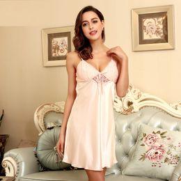 $enCountryForm.capitalKeyWord NZ - Sexy Lingerie Women's Sleepwear Satin Nightgown Silk Chemise Slip lace sleepwear sleep wear nightgowns sleepshirts with free gift bagSJYT24