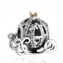 Pandora rhinestone silver charms online shopping - Authentic Sterling Silver Cinderella Pumpkin Charm Beads Gold Plated Crystal Rhinestone Pumpkin Bead Fits Pandora Bracelets DIY Jewelry