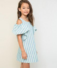 Barato Off Ombro Primavera Vestidos-Big Kids Girls Striped Dresses Adolescente Off-shoulder Ruffle Dress 2017 Junior Spring Summer Clothing roupas infantis