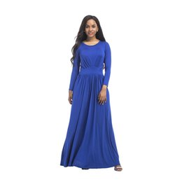 Barato Casual Vestido Preto Longo Praia-Mulheres Vestidos compridos Loose Long Sleeve Autumn O Neck Casual Sólido Branco Preto Blue Party Beach Plus Size Maxi Dress