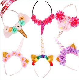 Robes De Fantaisie Mignonnes Pas Cher-2018 Cute Sheep Animal Horn Ear Unicorn Headband Headbands Halloween Fancy Dress Headwear Kids Cosplay Props Accessoires pour cheveux Décor # 4
