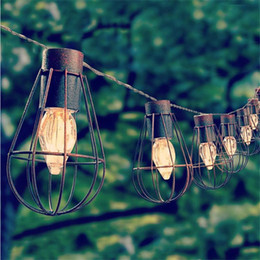 online shopping 10led Solar Garden Light LED Solar Bulb Vintage Cage String Light Waterproof Solar Lamp Outdoor Decorative Lights for Garden Party Christmas