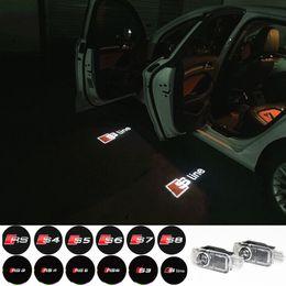 Wholesale 2pcs set Door LED Ghost Welcome Light Projector Puddle Laser Light For Audi A3 A4 A5 A6 TT Q5 Q7 TTS Sline RS S3 S4 S5 RS3 Logo
