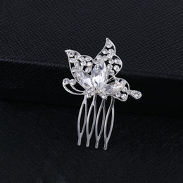 Butterfly hair comB wedding online shopping - Sparkly Austrian Crystal Butterfly Wedding Hair Comb Tiara Handmade Silver Jewelry Bridal Metal Hair Comb Accessories for Women