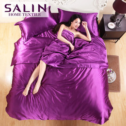 Plain Pink Black Bedding Australia - Wholesale-SaLin Luxury Tencel Silk Europe Pure Color Bedding Set 3PCS Twin Size 4PCS Full Queen King Size Bed Set High Quality