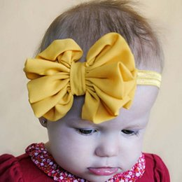 Étirement En Gros Pas Cher-Vente en gros- 2016 Enfants Bébé-filles Satin Flower Big Bow Hairband Elastic Headband Stretch Turban Knot Head Wrap Floral Hair Band Accessories