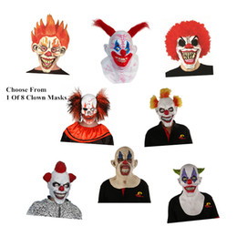 China Wholesale-X-MERRY FAST SHIPPING Joker Clown Costume Mask Creepy Evil Scary Halloween Clown Mask cheap scary adult clown costumes suppliers