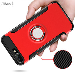 Iphone Phone Standing Cases Canada - i7 cases Luxury phone Case for iphone 6 6s 7 plus Car Holder Stand Magnetic Suction Bracket Finger Ring TPU + PC Cover case