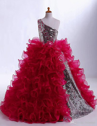 Wholesale Hot Sale gorgeous Ruffle Sequin Flower Girl Dresses Ball Gown One shoulder Girls Pageant Dresses Communion Dresses Size customization