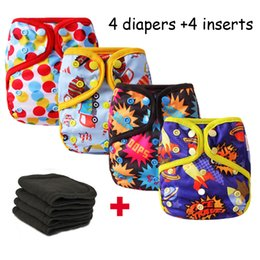 Barato Fralda Inserir Bolso Fralda-4pcs / lot Fraldas de pano Baby Leakproof Reusable Pocket Fralda Newborn Waterproof Nappies Cover with 4pcs Bamboo Charcoal Inserts