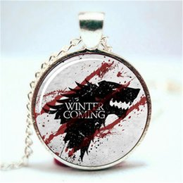 game thrones glasses 2019 - 10PCS GAME of throne Winter is Coming Pendant Necklace Glass Photo cabochon necklace cheap game thrones glasses