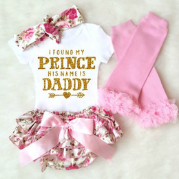 Wholesale Baby girl 4pcs Clothing Sets Infant INS Romper + floral shorts and Headband leggings Set I Found My Princess His Name is Daddy M3443 K041