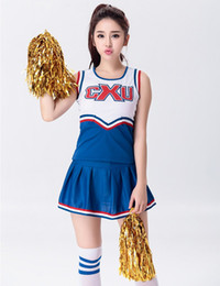 Uniformes Scolaires Filles Sexy Pas Cher-Femme Sexy High School Cheerleader Costume Girl sportswear aérobic danse Cheer Girls DS Uniforme Party Outfit Tops et jupe