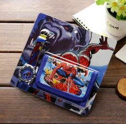 Wholesale Spiderman kids Sets watch and wallet purse wrist quartz Christmas Children gift Boys Girls Cartoon watches