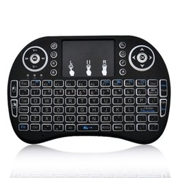 Discount virtual keyboard free Rii I8 Fly Air Mouse 2.4G Backlit Wireless Touchpad Keyboard Air Mouse Multifunction For PC Pad Android TV Box MXQ Pro X96