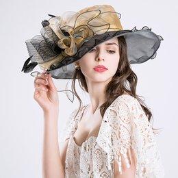 $enCountryForm.capitalKeyWord Canada - Fashion New Elegant Gold Fine gauze large brim hat party church wedding hats Fashion hat Sun Hats