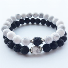 Wholesale Natural Stone Bracelets Hot New Lava Volcanic Stone White Turquoise Bracelet Handmade Beads Bracelets for Men Women Jewelry