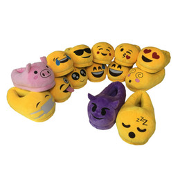 Home plusH slippers online shopping - 171002004 F high quality indoor cartoon funny pattern plush pig shit QQ expression emoji Winter cotton shoes Home warm slippers