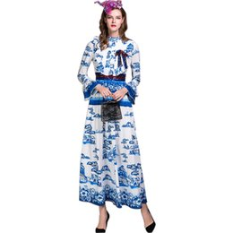 China Fashion Top QUALITY Women Summer Design Flare Sleeve Blue & White Porcelain Printed Runway Sequined Dresses Plus Size XXXL Dress suppliers
