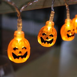 outdoor battery fairy lights Canada - Halloween Decor Pumpkins Ghost Spider Skull LED String Lights Lanterns Lamp for DIY Home Bar Outdoor Party Fairy String Lights Pumpkin
