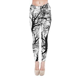 Chinese  Women Leggings Black White Tree 3D Graphic Print Girl Skinny Stretchy Yoga Wear Pants Lady Gym Fitness Pencil Fit Soft Trousers New (J20768) manufacturers