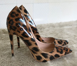 leopard pumps Canada - Sexy Leopard Women Stiletto High Heels Dress Shoes Pumps For Lady Patent Leather Party Pumps Casual Shoes italian shoes with matching Bags