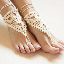 $enCountryForm.capitalKeyWord Australia - Beach wedding ivory crochet wedding barefoot Sandals,Nude shoes, Victorian Lace,Yoga shoes,Bridal Shoes accessories