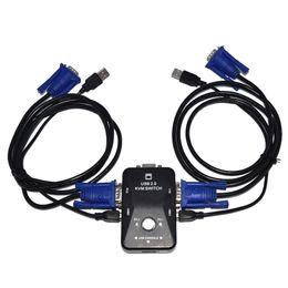 Usb Vga Box Canada - 2 Port USB 2.0 KVM Switch SVGA VGA Switch Box 2 KVM Cables for Computer Sharing PC Mouse Keyboard Monitor