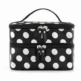 Discount aluminum travel - Wholesale- Black Large Capacity Cosmetic Bag Woman Dots Portable Storage Makeup Bags Canvas Beauty Organiser Handbag Big