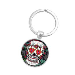 women skull rings NZ - Hot!10pcs Creative Silver Color Key Chain Rose Skull Keychain Jewelry Handcrafted Art Glass Cabochon Pendant Keyring Key Ring Women Gifts