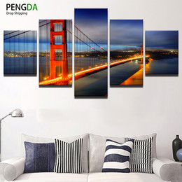 $enCountryForm.capitalKeyWord Canada - Abstract Canvas Painting Wall Art Poster Wall Pictures For Living Room 5 Pieces Golden Gate Bridge Landscape Home Decor