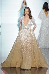 line gold lace tulle zuhair murad 2019 - Elegant Long Sleeve Champagne Formal Evening Dresses Zuhair Murad 2016 Floor Length A-Line Deep V Neck Beading Celebity