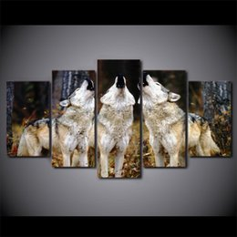 Ship Picture Frames Canada - HD Printed 5 Piece canvas Art White Wolf Group Paintings Framed Wall Pictures For Living Room Decoration Free Shipping CU-1749A