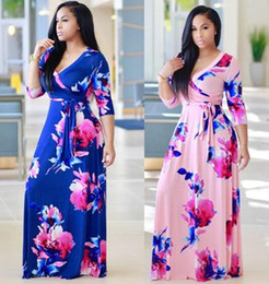 Nouvelle Conception De Robes Longues Pas Cher-2017 nouvelle femme bandage robe mode design bodycon Maxi robes fashion floral print Slim v-neck party summer beach longue robe